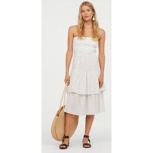 H&M | White Strapless Flounced Calf Length Dress